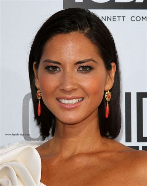 medium length hairstyles behind the ear olivia munn sleek above the shoulders and behind the