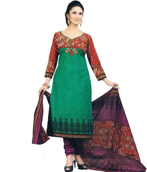 Venya Dress venya style green cotton unstitched dress material buy