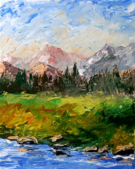 acrylic painting river webster work zoom mountain river abstract palette