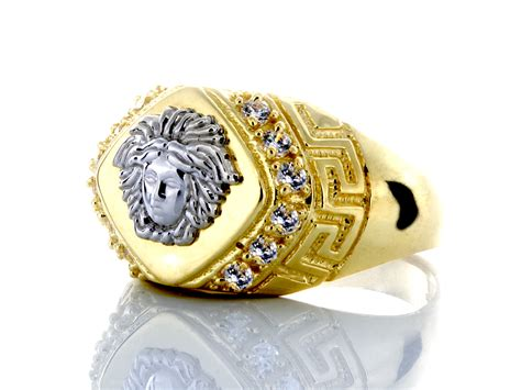 10k white gold medusa and yellow gold ring with cz
