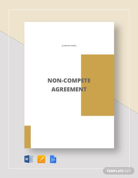non compete clause template 8 non compete agreement templates doc pdf free