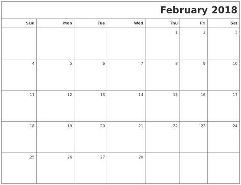 printable february 2018 calendar february 2018 printable blank calendar