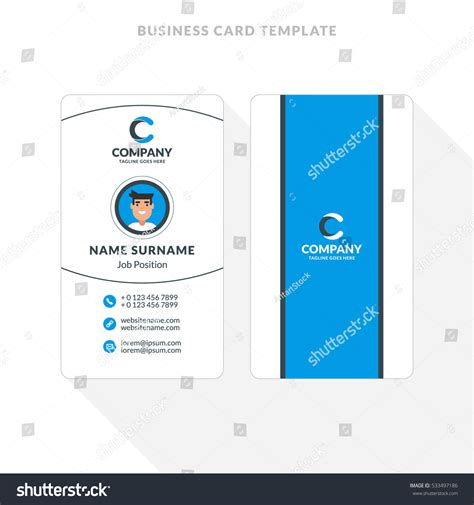 sided business card template for pages vertical doublesided business card template blue stock