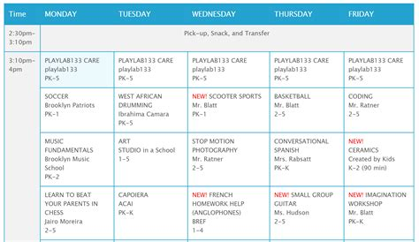 Schedule For After School Template