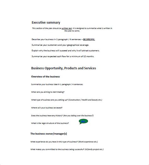 small business plan template 16 free sle exle