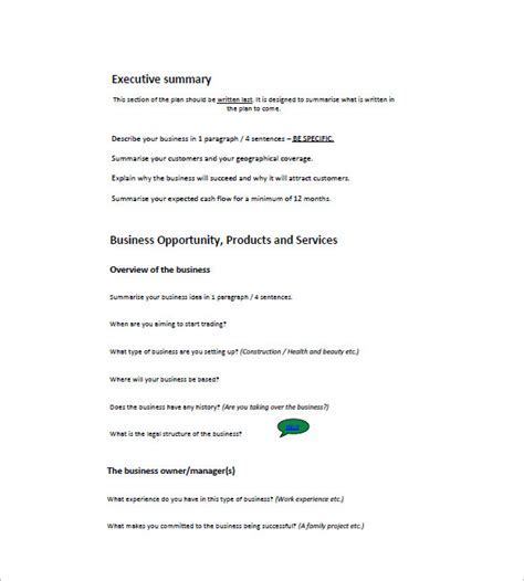 Small Business Plan Template Canada UN Mission - Business plan template canada