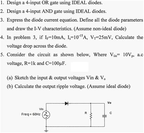 diode voltage definition design a 4 input or gate using ideal diodes desig chegg