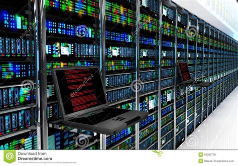Interior Design Tool Online terminal monitor in server room with server racks in