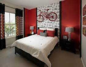 Red Black And White Bedroom - ingenious bedroom in black and red with a wall mounted bike decoist