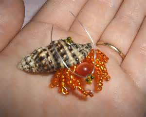 crab in a shell beaded bugs beaded insect book bead