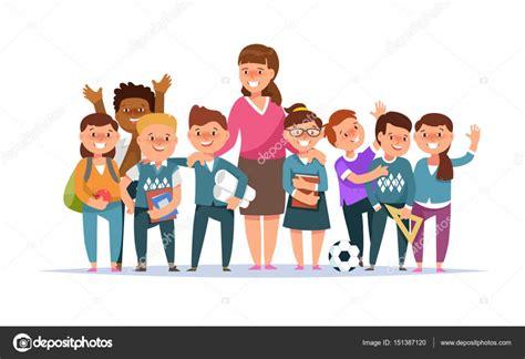 imagenes grupo escolar vector ilustraci 243 n grupo escolar ni 241 o y ni 241 a y maestro en