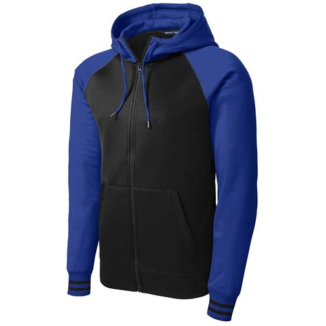 Jaket Zip Farsity Black sport tek st236 sport wick varsity fleece zip hooded jacket black true royal fullsource
