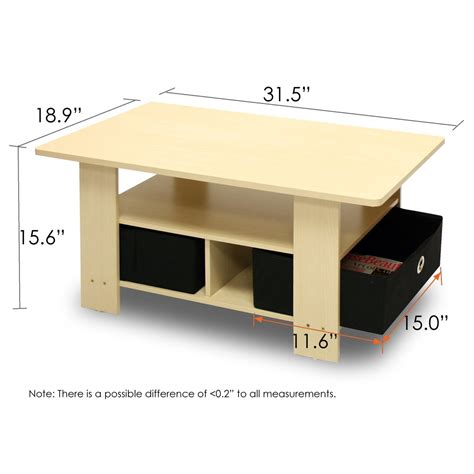coffee table dimensions eco friendly coffee table in beech with black bin storage drawers greenhome123