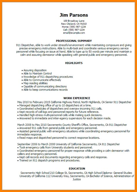 dispatcher cover letter sle resume for students with no experience high school