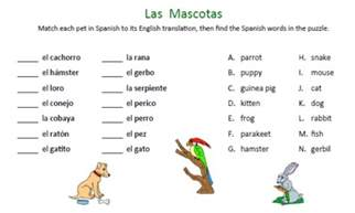 animals worksheets printable spanish