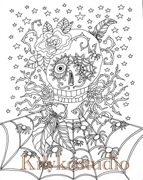 halloween coloring pages spider web halloween coloring page sugar skull spider web by
