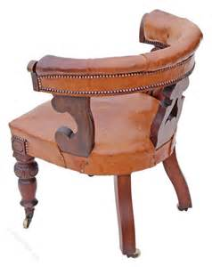 19c walnut leather library desk armchair