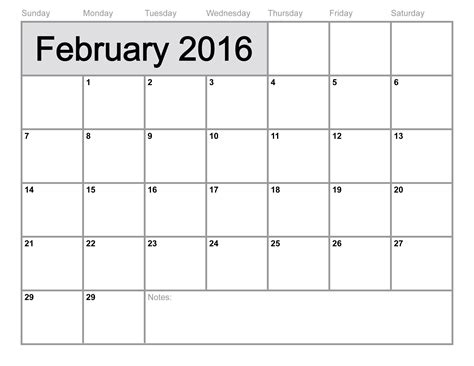 Downloadable Calendar February 2016 Calendar Printable Template 8 Templates