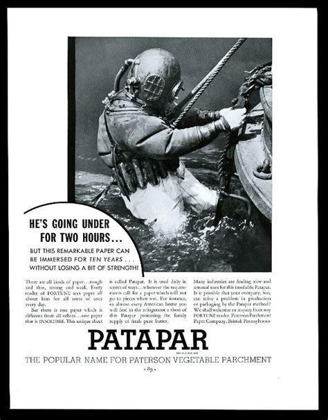 Diving Helmet Print Diver Poster - 1933 deep sea diver diving helmet suit photo patapar paper