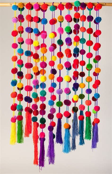 Handmade Pom Pom Decorations - multicolored handmade pom pom garland mexican wedding