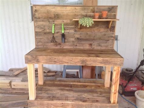 bench made from wooden pallets potting bench made from repurposed wooden pallets 1001 gardens
