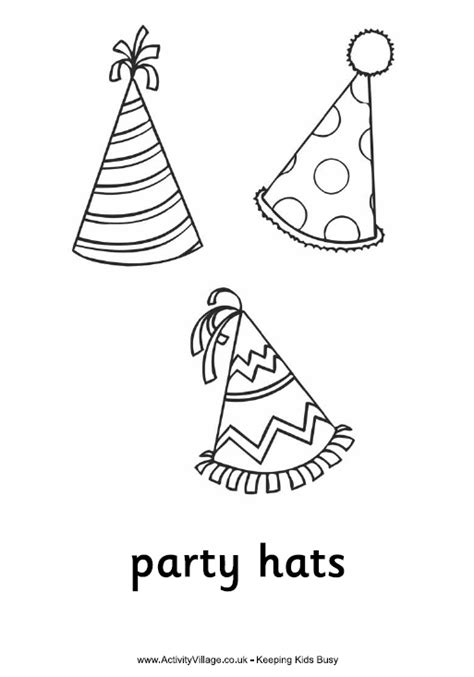 new year hat coloring pages party hats colouring page