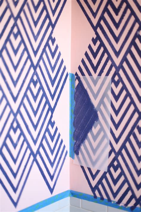 geometric pattern on wall create a wallpaper look with a geometric stencil a
