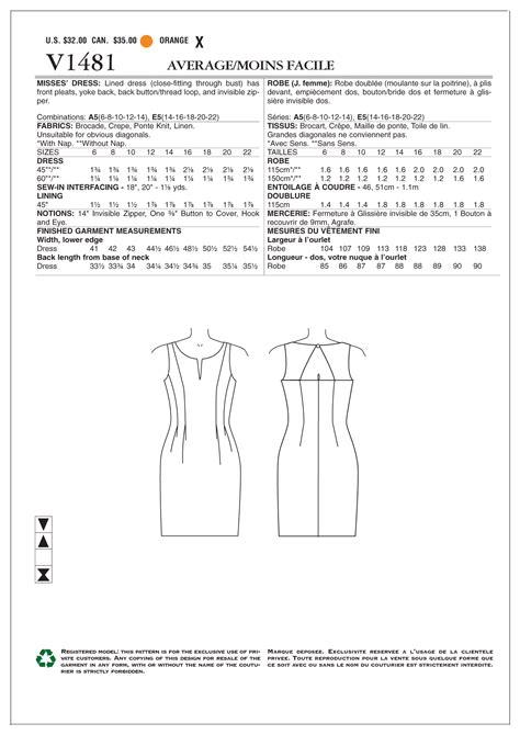 paper pattern of aai vogue 1481 jurk naaipatronen nl zelfmaakmode patroon