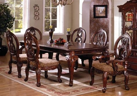 7 pc tuscany ii antique cherry finish wood formal