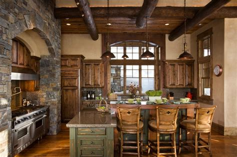 Rustic Cabin Kitchen Decor by Rustic Kitchen With Flat Panel Cabinets L Shaped