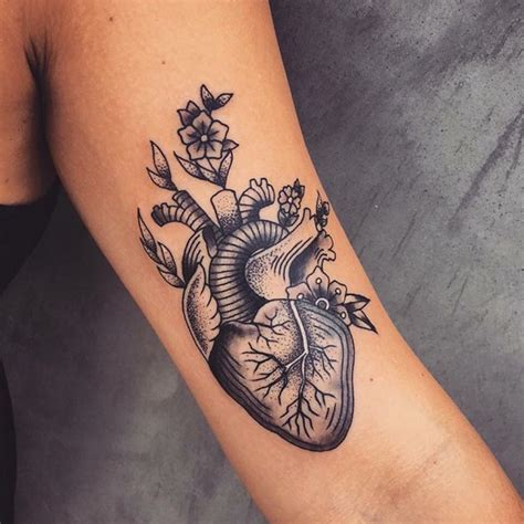 flower heart tattoos anatomical and flowers tattoos by andrea revenant