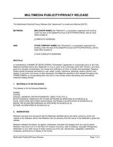 multimedia publicity privacy release template sle