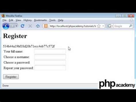 php tutorial login and register php tutorials register login user registration part 2