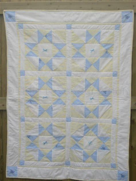 Patchwork Cot Quilt Kits - yellow blue baby patchwork seersucker crib quilt 34 quot x 48