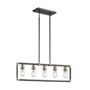 Black Kitchen Island Lighting Shop Kichler Imahn 2 In W 5 Light Black Vintage Kitchen Island Light At Lowes