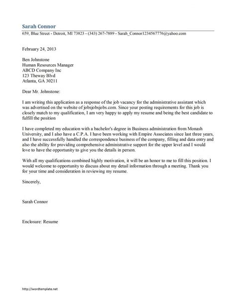 administrative assistant cover letter template job cover