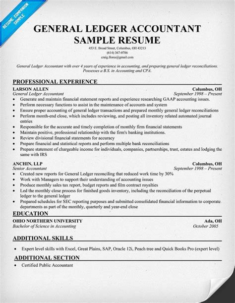General Ledger Accountant Sle Resume by General Ledger Accountant Resume Resume Sle Resume And