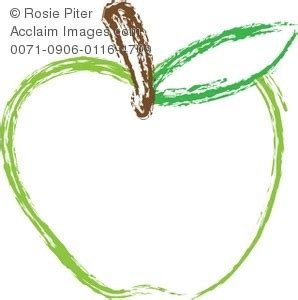 Green Apple Outline by A Clip Of An Outline Of A Green Apple With A Stem Royalty Free Clipart Illustration