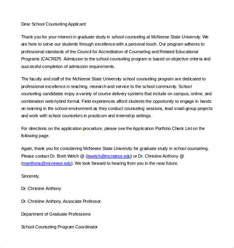 letter of counseling template 8 school letter of intent templates free sle