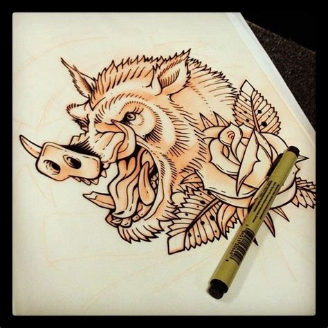 wild boar tattoo designs and boar design hawaiian