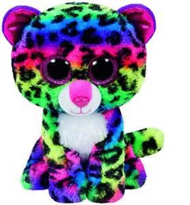 dotty rainbow ty beanie boo cat soft plush toy ebay