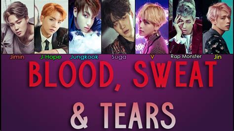bts blood sweat and tears lyrics bora cantar blood sweat tears bts legenda