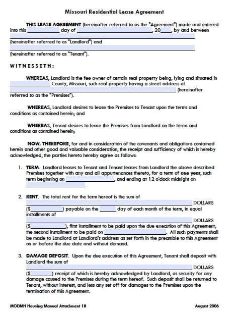 Free Missouri Residential Lease Agreement Form Pdf Template Missouri Lease Agreement Template