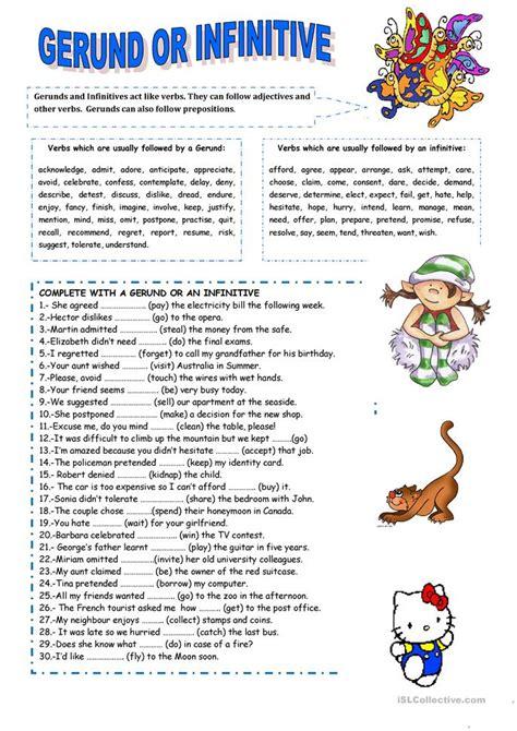 Gerund Worksheet by Gerund Or Infinitive Worksheet Free Esl Printable