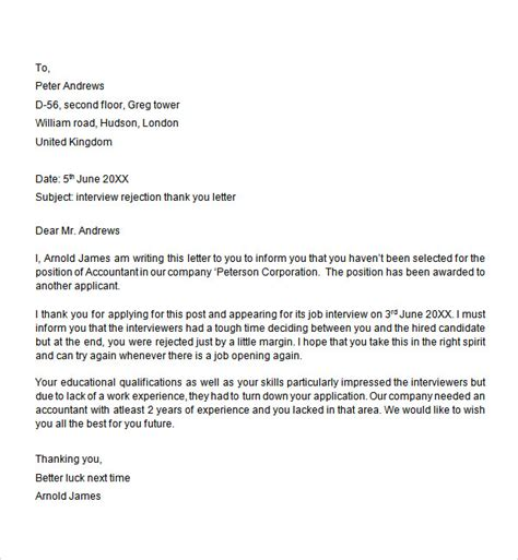 Rejection Letter Candidate Sle Rejection Letter Reply Company Letters Of Rejection Omnisend Biz