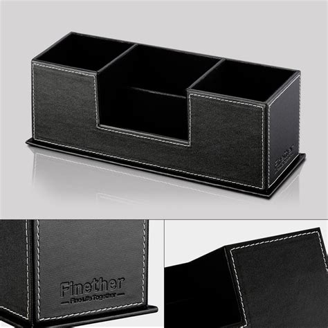 Desk Organizer Leather Desk Organizer Pu Leather Desktop Home Office Pen Pencil Holder Storage Black Us Ebay