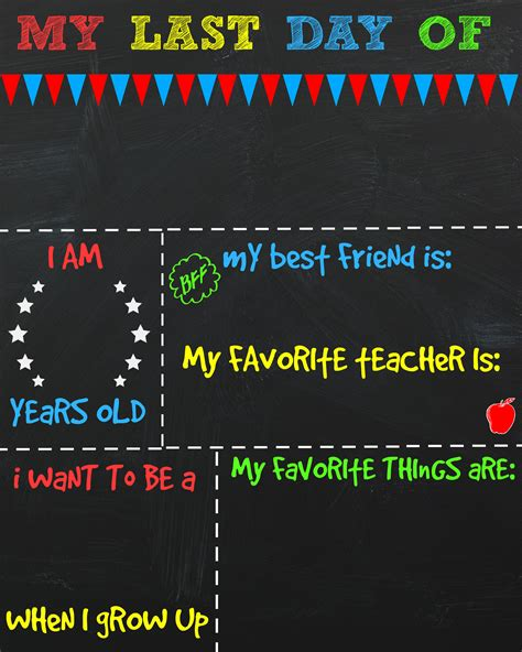 day of school template last day of school printable chalkboard signs the shady