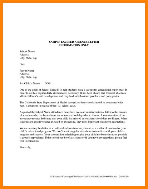 Permission Letter Because Of Sick 11 Permission Letter To Be Absent From School Address Exle