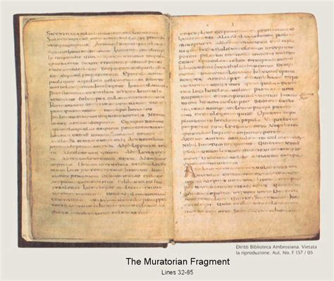 the biblical canon lists from early christianity texts and analysis books the muratorian fragment