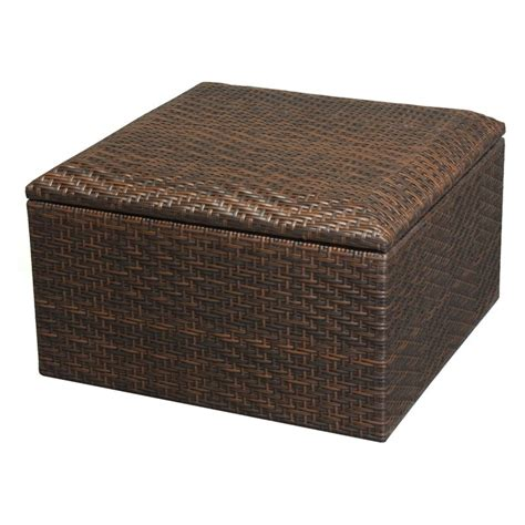Outdoor Wicker Storage Ottoman Wicker Brown Indoor Outdoor Storage Ottoman Ottomans At Hayneedle